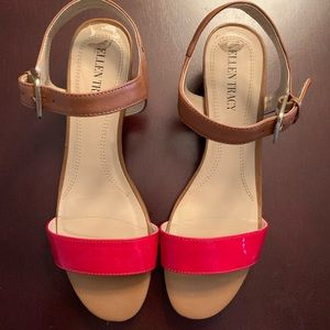 Ellen Tracy Red Leather Sandals~Size 7.5